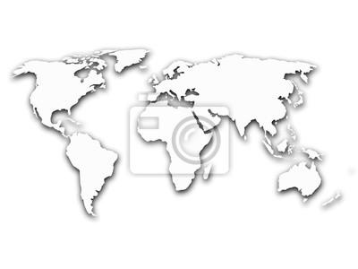 Obraz Uproszczony Kontur Mapa Swiata Z Cieniem Na Bialym Tle