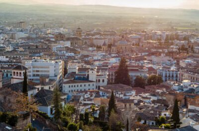 Obraz Urban landscape, Granada city view at sunset, Andalusia, southern Spain