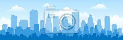 Obraz urban panorama cityscape skyline building silhouettes horizontal vector illustration