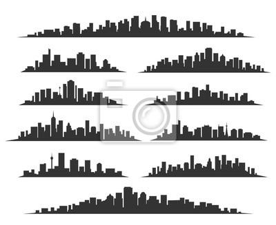Obraz Urban sylwetki miasta sylwetki ilustracji wektorowych. Noc miasta skyline lub budynków miasta czarny samodzielnie na białym tle