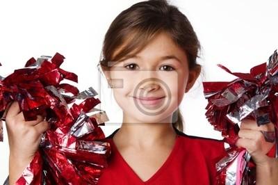 Obraz Urocza szczęśliwy małe dziecko ma na sobie strój cheerleaderek
