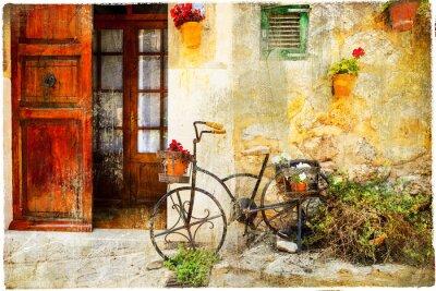 urocza ulica w miejscowości Valdemossa ze starym rowerze
