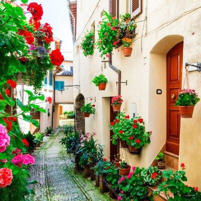 Urocze kwiatowe uliczki średniowiecznego miasteczka Spello w Umbrii, Włochy
