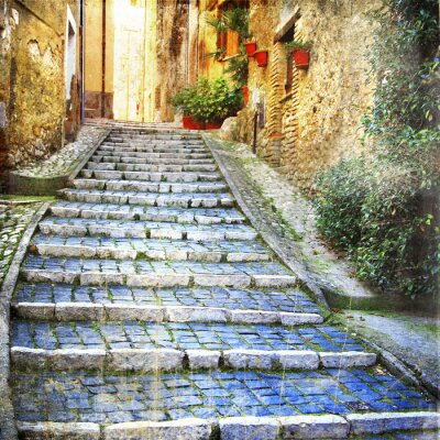 urocze stare uliczki średniowiecznych wiosek Włoch