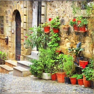 Obraz urocze stare uliczki włoskich wiosek