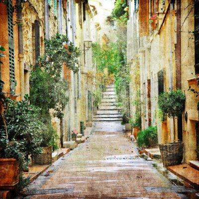 Urokliwe uliczki śródziemnomorskich, artystycznej obrazu