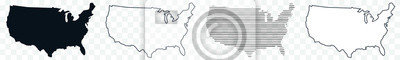 Obraz US Map Black | USA Border | United States Country | America | Transparent Isolated | Variations