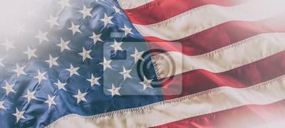 Obraz USA flag. American flag. American flag blowing in the wind