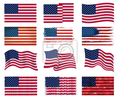 Obraz USA flag vector american national symbol of united states with stars stripes illustration freedom independence set of flagged patriotic emblem isolated on white background