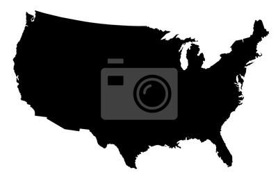 Obraz USA Map Black Silhouette
