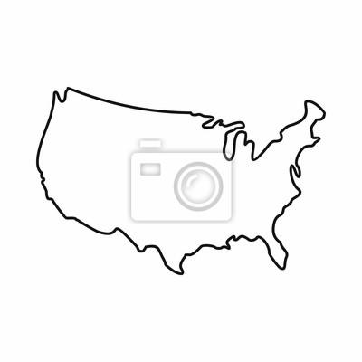 Obraz USA map ikona stylu szkic