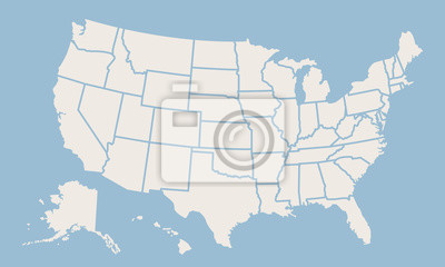 Obraz USA map isolated on blue background. United States of America map. Vector template.