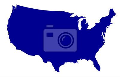 Obraz USA Map Silhouette
