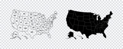 Obraz USA map states. Vector line design. High detailed USA map. Labeled with postal abbreviatations. Stock vector.
