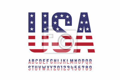 Obraz USA national flag style font, alphabet letters and numbers