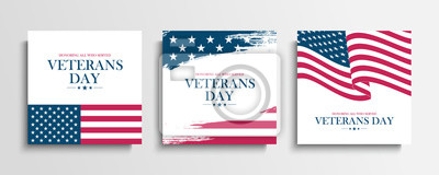 Obraz USA Veterans Day greeting cards set with United States national flag. Honoring all who served. United States national holiday vector illustration.