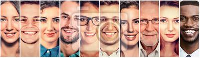 Obraz Uśmiechnięte twarze. Happy grupy wieloetnicznych ludzi mężczyzn i kobiet