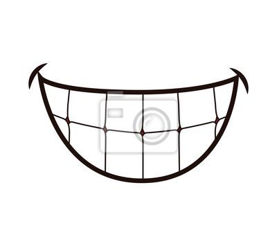 Obraz Usta koncepcja reprezentowana przez uśmiech kreskówki. ilustracja i płaska