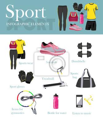 ustaw i banerów Fitness pojedyncze ikony. Sprzęt sportowy i akcesoria. Szkolenie Koncepcja ilustracji wektorowych.
