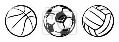 Obraz Ustaw piłki sportowe grunge