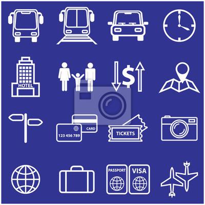 Ustawić podróży i linii wakacje ikony. Ilustracji wektorowych