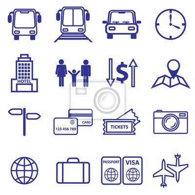 Obraz Ustawić podróży i linii wakacje ikony. Ilustracji wektorowych
