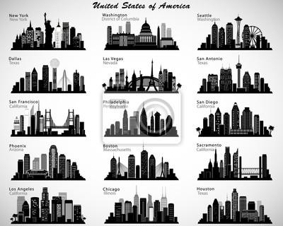 Obraz Ustawić USA miasta skylines. Sylwetki wektora