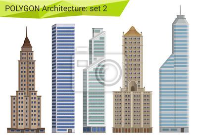 Obraz Ustawić wielokątne wieżowce stylu. Elementy projektu miasto.