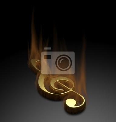 Obraz Uwaga muzyki Pożar na czarnym tle