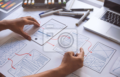Obraz ux Graphic designer creative  sketch planning application process development prototype wireframe for web mobile phone . User experience concept.