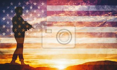 Obraz Uzbrojony żołnierz z karabinu i flagi USA. Straż, wojsko, wojsko, wojna.