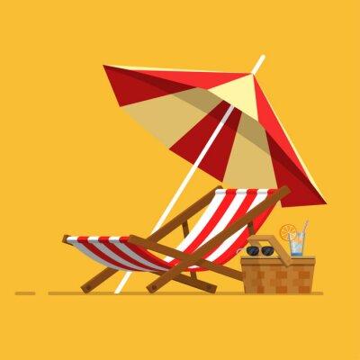 Obraz Vacation, travel, vacation. Beach umbrella, beach chair.