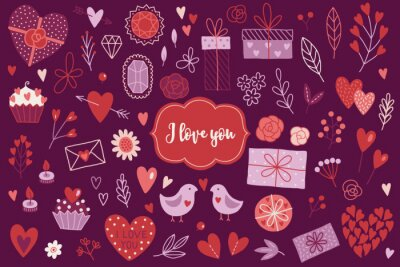 Valentine's Day design elements with hearts, roses, branches, presents, flowers