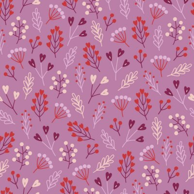 Valentine's Day seamless pattern with berries, branches and flowers