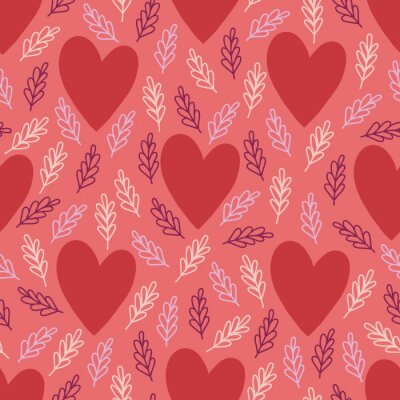 Valentine's Day seamless pattern with big hearts and branches