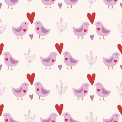 Valentine's Day seamless pattern with birds, leaves and hearts