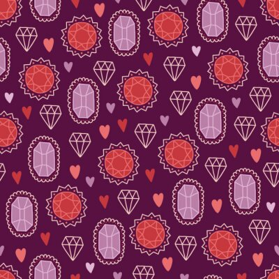 Valentine's Day seamless pattern with diamonds, jewels and hearts