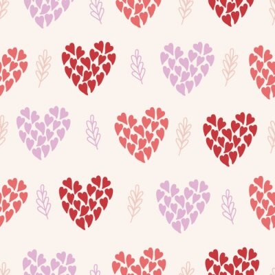 Valentine's Day seamless pattern with hearts and branches