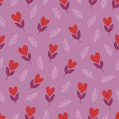Valentine's Day seamless pattern with hearts, branches, leaves