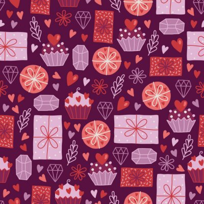 Valentine's Day seamless pattern with hearts, gifts, cupcakes, branches, gems