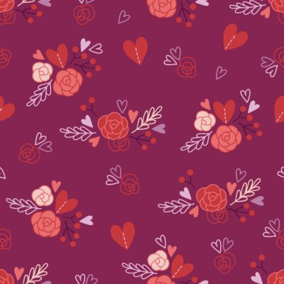 Valentine's Day seamless pattern with hearts, roses, bouquets and berries