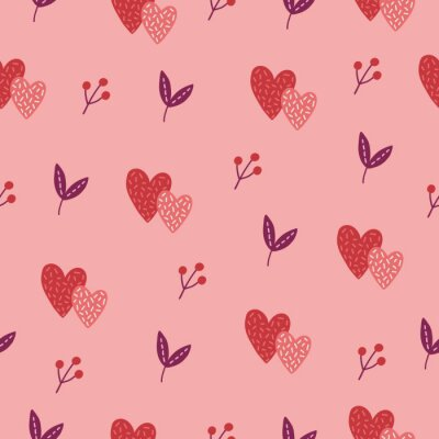 Valentine's Day seamless pattern with leaves, hearts, berries