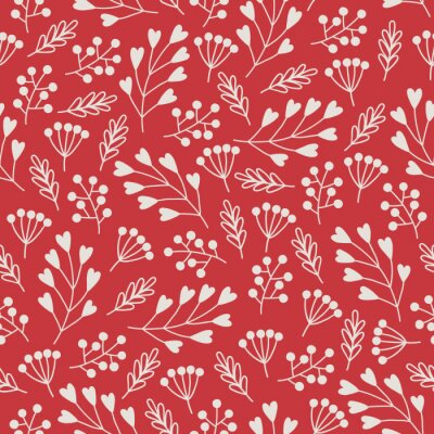 Valentine's Day seamless pattern with white herbs, berries, branches, hearts