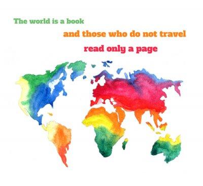 Obraz Varicolored akwarela mapa świata