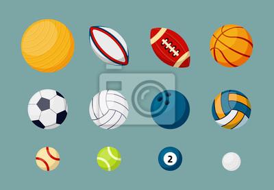 Obraz Various sports balls flat vector illustrations set