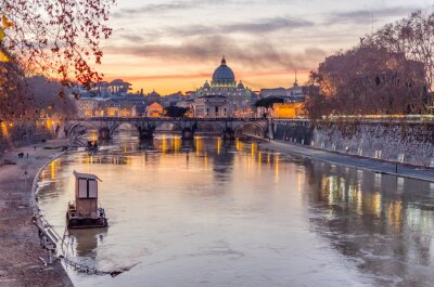 Obraz Vatican City and Tevere River in Rome at Dusk