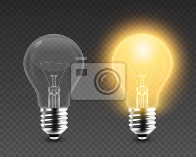 Obraz Vector 3d Realistic Turning On and Off Light Bulb Icon Set Closeup Isolated on Transparent Background. Glowing Incandescent Filament Lamps. Creativity Idea, Business Innovation Concept. Front View