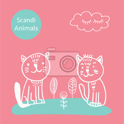Vector adorable cat in trendy Scandinavian style. Funny, cute, hugge, hand drawn illustration for poster, banner, print, decoration kids playroom or greeting card.