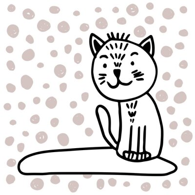 Obraz Vector adorable cat in trendy Scandinavian style. Funny, cute, hugge, hand drawn illustration for poster, banner, print, decoration kids playroom or greeting card.