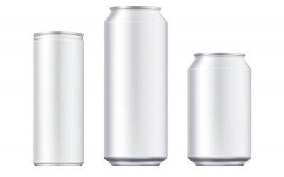 Obraz Vector aluminium beer and slim soda can mock up blank template. Juice, soda, beer jar blank isolated on white background. Aluminum can for design. Realistic aluminum cans.